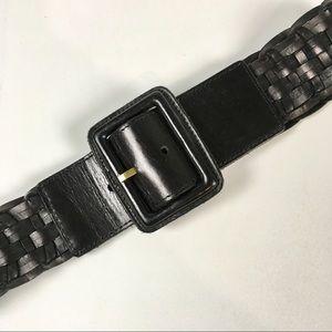 Banana Republic Woven Leather Belt/Black/XS